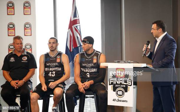 Jeremy Loeliger speaks as coach Dean Vickerman Josh Boone and Chris Goulding of Melbourne United look on during the NBL Grand Final media opportunity...