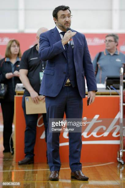 Jeremy Loeliger speaks during the NBL Combine 2017/18 at Melbourne Sports and Aquatic Centre on April 18 2017 in Melbourne Australia