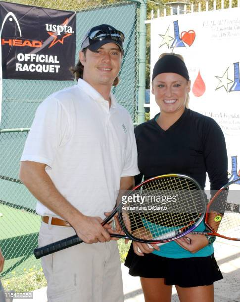 Jeremy London and Betthany Mattek during TJ Martell / Neil Bogart Foundation 2006 Racquet Rumble Tennis Tournament at Riviera Tennis Club in Los...