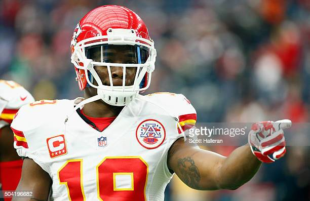 Jeremy Maclin of the Kansas City Chiefs reacts before the AFC Wild Card Playoff game against the Houston Texans at NRG Stadium on January 9 2016 in...