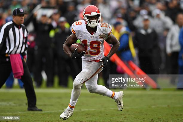 Jeremy Maclin of the Kansas City Chiefs runs after a catch against the Oakland Raiders during their NFL game at OaklandAlameda County Coliseum on...