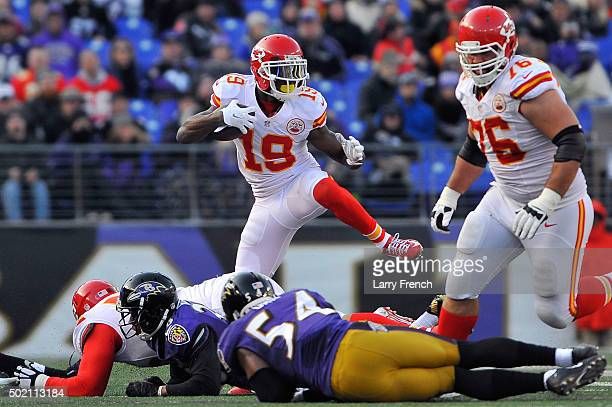 Jeremy Maclin of the Kansas City Chiefs runs the ball during the game against the Baltimore Ravens at MT Bank Stadium on December 20 2015 in...