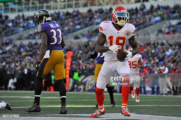 Jeremy Maclin of the Kansas City Chiefs scores a touchdown against the Baltimore Ravens at MT Bank Stadium on December 20 2015 in Baltimore Maryland