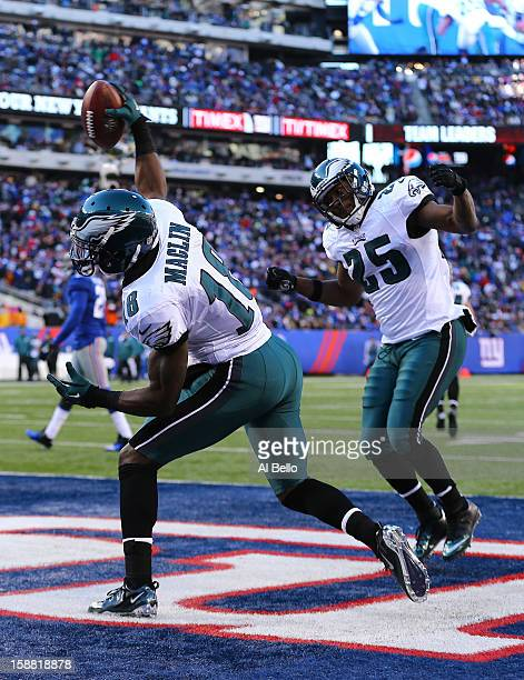 Jeremy Maclin of the Philadelphia Eagles celebrates a touchdown during their game against the New York Giants at MetLife Stadium on December 30 2012...