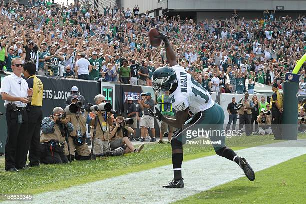 Jeremy Maclin of the Philadelphia Eagles celebrates during the game against the Baltimore Ravens at Lincoln Financial Field on September 16 2012 in...