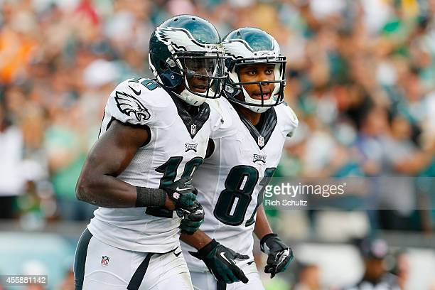 Jeremy Maclin of the Philadelphia Eagles celebrates his fourth quarter touchdown with teammate Jordan Matthews during the game against the Washington...