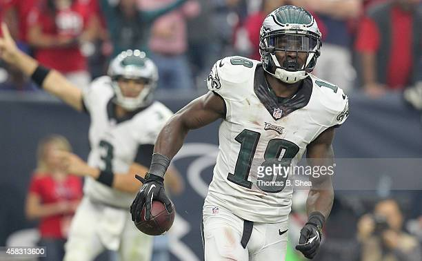 Jeremy Maclin of the Philadelphia Eagles celebrates his touchdown reception from Mark Sanchez of the Philadelphia Eagles against the Houston Texans...