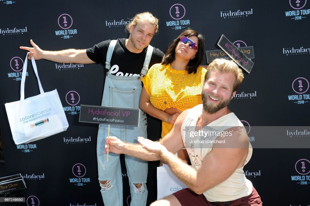 Jeremy Madix, Mercedes 'MJ' Javid and Craig Ramsay attend the HydraFacial World Tour - Los Angeles on July 12, 2018 in Venice, California.