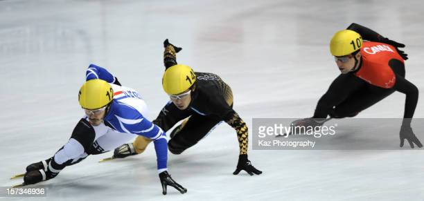 Jeremy Masson of France followed by Daisuke Uemura of Japan and Guillaume Bastille of Canada in Final B of Men 5000m Relay during day three of the...