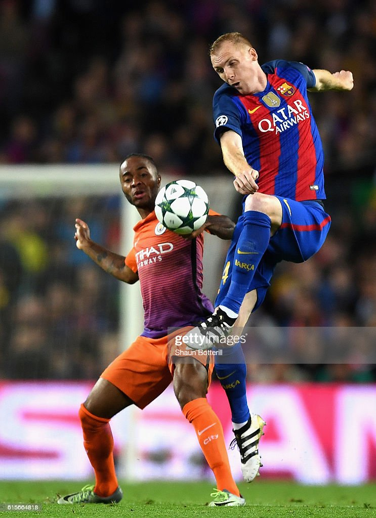 Jeremy Mathieu of Barcelona controls the ball under pressure from Raheem Sterling of Manchester City during the UEFA Champions League group C match between FC Barcelona and Manchester City FC at Camp Nou on October 19, 2016 in Barcelona, Spain.