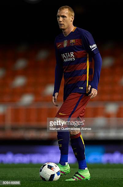 Jeremy Mathieu of Barcelona in action during the Copa del Rey Semi Final second leg match between Valencia CF and FC Barcelona at Estadio Mestalla on...