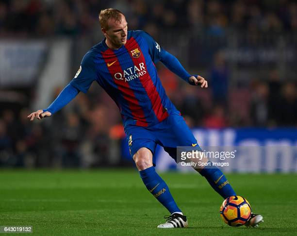 Jeremy Mathieu of Barcelona in action during the La Liga match between FC Barcelona and CD Leganes at Camp Nou Stadium on February 19, 2017 in...