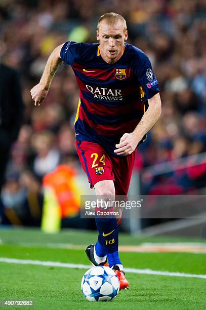 Jeremy Mathieu of FC Barcelona conducts the ball during the UEFA Champions League Group E match between FC Barcelona and Bayern 04 Leverkusen at Camp...