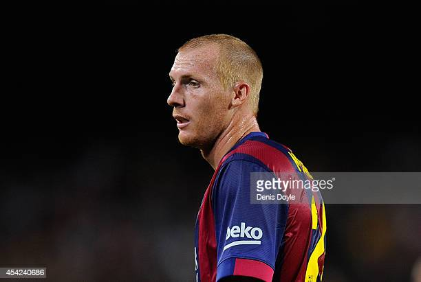 Jeremy Mathieu of FC Barcelona looks on during the La Liga match between FC Barcelona and Elche FC at Camp Nou stadium on August 24, 2014 in...