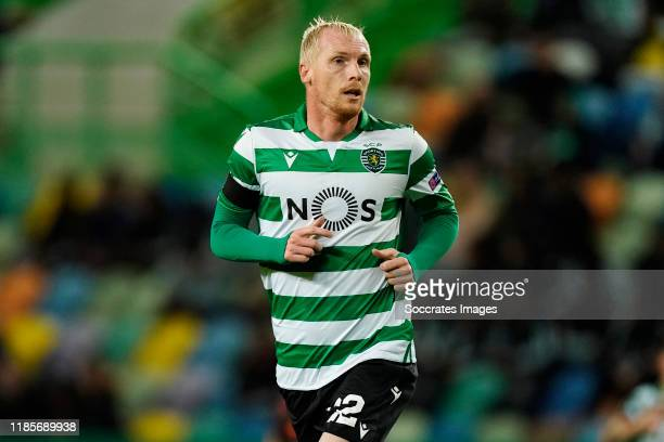 Jeremy Mathieu of Sporting Clube de Portugal during the UEFA Europa League match between Sporting Lissabon v PSV at the Estadio Jose Alvalade on...
