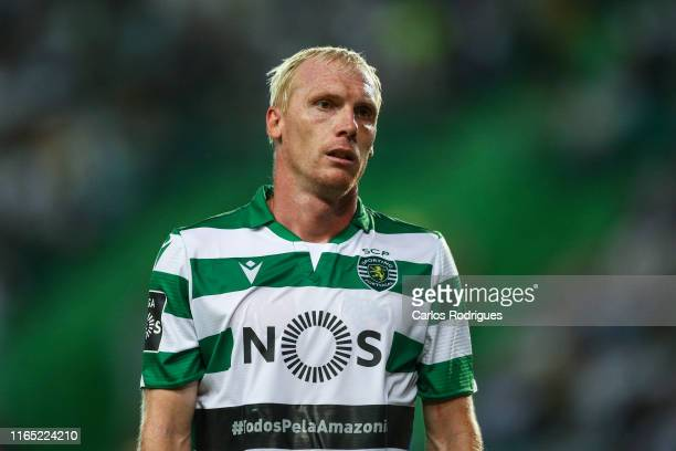 Jeremy Mathieu of Sporting CP during the Liga Nos round 4 match between Sporting CP and Rio Ave FC at Estadio Jose Alvalade on August 31, 2019 in...