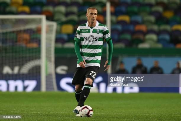 Jeremy Mathieu of Sporting CP in action during the Liga NOS match between Sporting CP and GD Chaves at Estadio Jose Alvalade on November 11 2018 in...