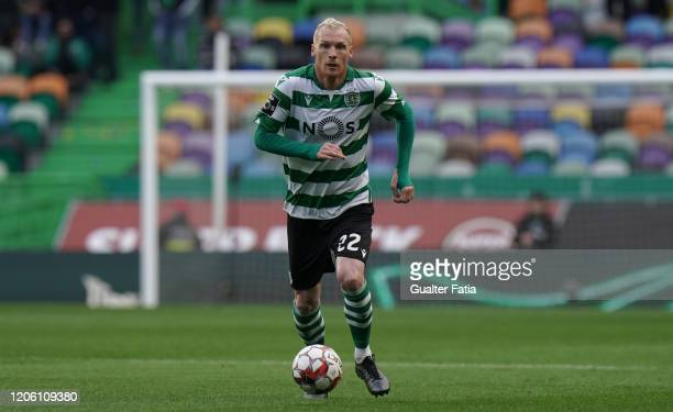 Jeremy Mathieu of Sporting CP in action during the Liga NOS match between Sporting CP and CD Aves at Estadio Jose Alvalade on March 8, 2020 in...