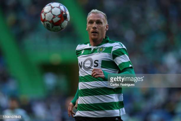 Jeremy Mathieu of Sporting CP in action during the Liga Nos round 24 match between Sporting CP and CD Aves at Estadio Jose Alvalade on March 8, 2020...
