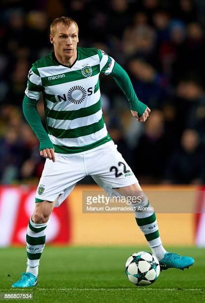 Jeremy Mathieu of Sporting CP in action during the UEFA Champions League group D match between FC Barcelona and Sporting CP at Camp Nou on December 5...