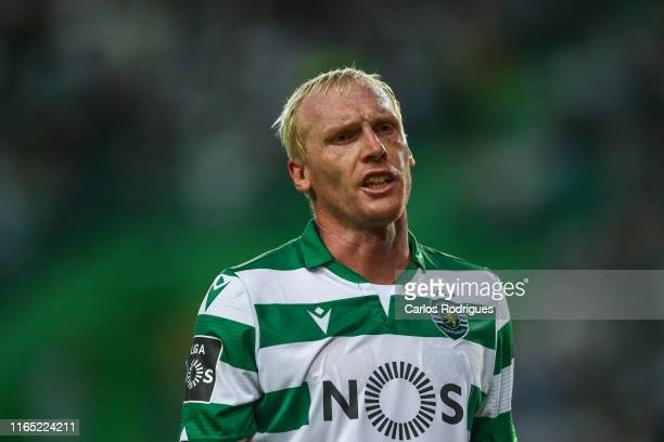 Jeremy Mathieu of Sporting CP reacts during the Liga Nos round 4 match between Sporting CP and Rio Ave FC at Estadio Jose Alvalade on August 31, 2019...