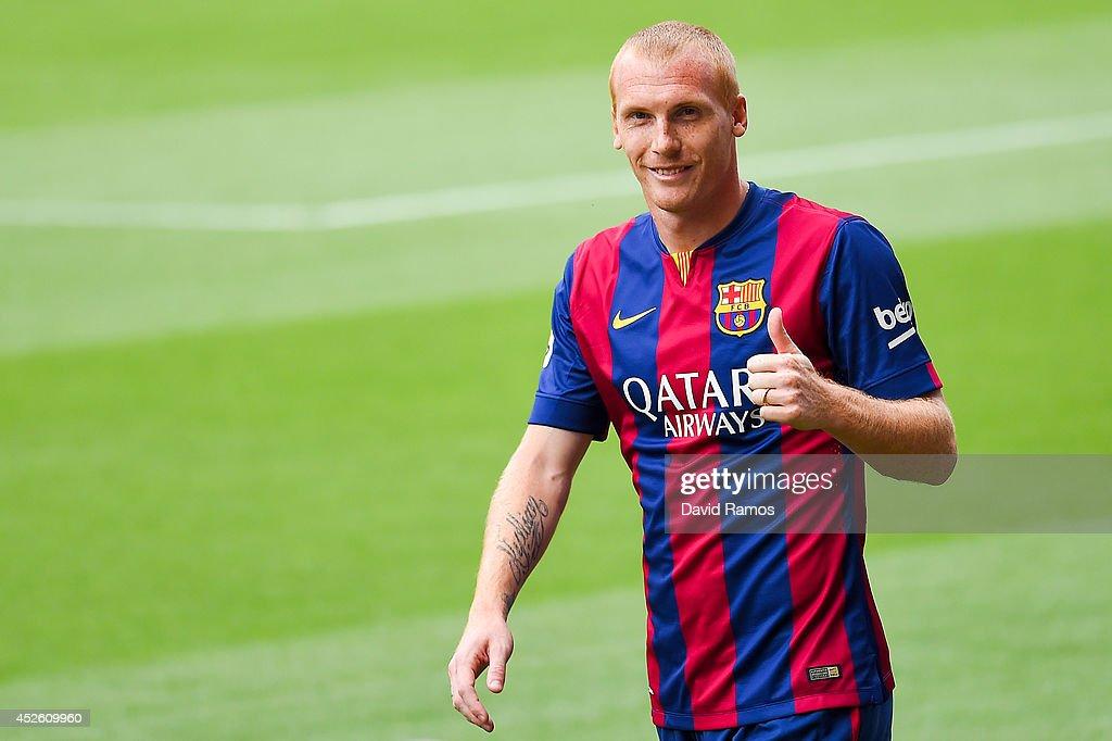 FC Barcelona Unveil New Signing Jeremy Mathieu