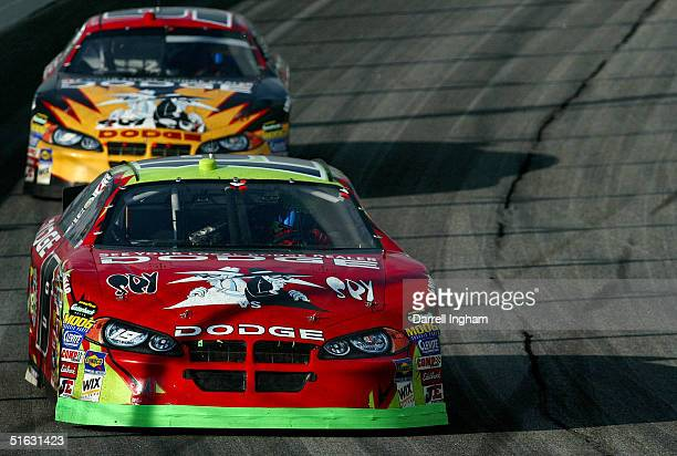 Jeremy Mayfield driving the Evernham Motorsports Dodge leads his teammate Kasey Kahne in the Dodge during the NASCAR Nextel Cup Series Bass Pro Shops...