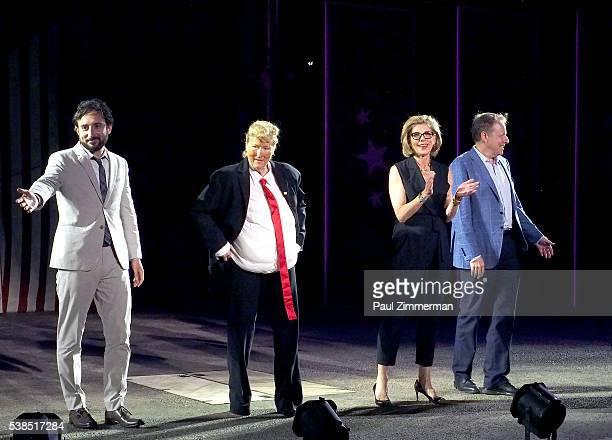 Jeremy McCarter Meryl Streep Christine Baranski and Jim Shapiro perform onstage at the 2016 Public Theater Gala at Delacorte Theater on June 6 2016...