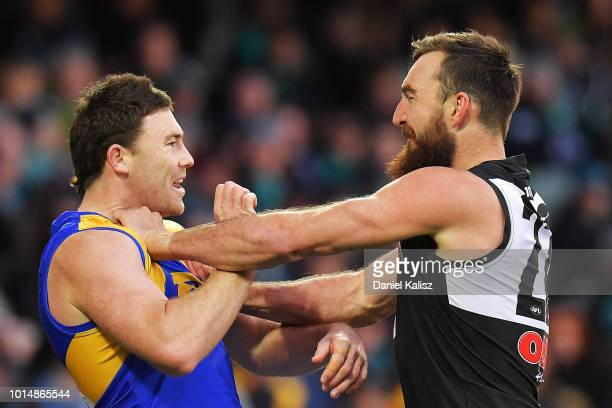 Jeremy McGovern of the Eagles and Charlie Dixon of the Power wrestle during the round 21 AFL match between the Port Adelaide Power and the West Coast...
