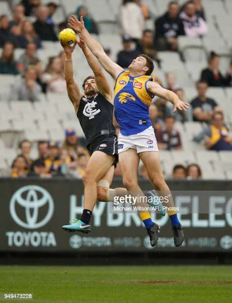 Jeremy McGovern of the Eagles and Levi Casboult of the Blues in action during the 2018 AFL round five match between the Carlton Blues and the West...