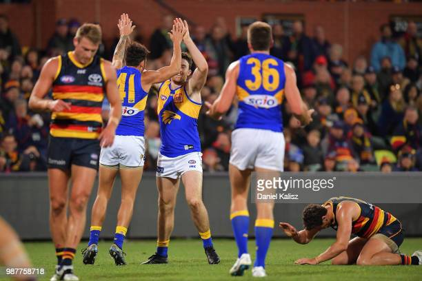 Jeremy McGovern of the Eagles celebrates after kicking a goal during the round 15 AFL match between the Adelaide Crows and the West Coast Eagles at...