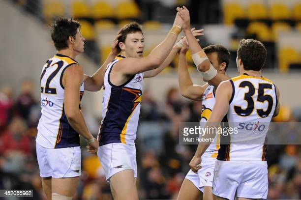 Jeremy McGovern of the Eagles celebrates kicking a goal during the round 17 AFL match between the Brisbane Lions and the West Coast Eagles at The...