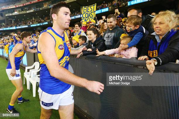 Jeremy McGovern of the Eagles celebrates the win with fans during the round five AFL match between the Carlton Blues and the West Coast Eagles at...