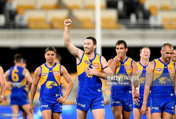 Jeremy McGovern of the Eagles celebrates victory after the round 6 AFL match between the West Coast Eagles and the Adelaide Crows at The Gabba on...