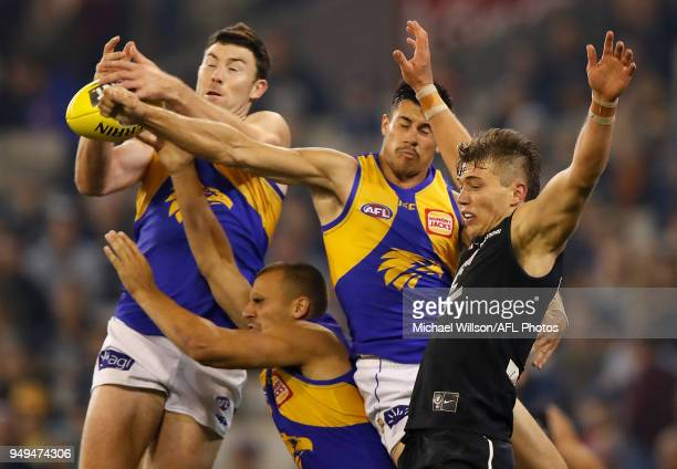 Jeremy McGovern of the Eagles Dom Sheed of the Eagles Liam Duggan of the Eagles and Patrick Cripps of the Blues compete for the ball during the 2018...