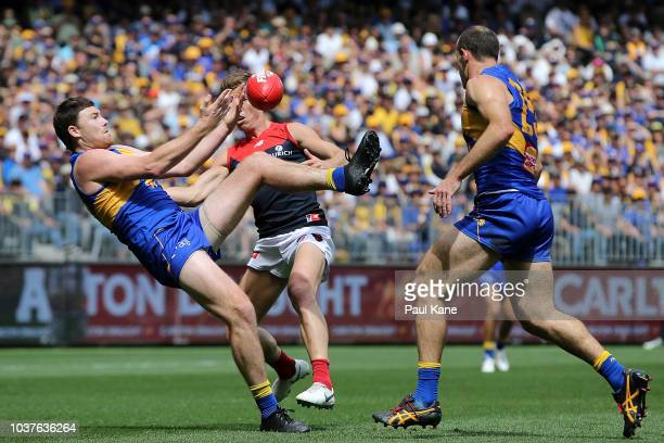 Jeremy McGovern of the Eagles juggles a mark during the AFL Preliminary Final match between the West Coast Eagles and the Melbourne Demons on...