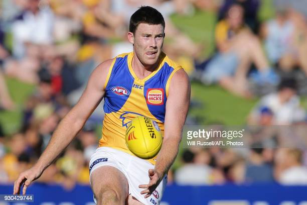 Jeremy McGovern of the Eagles kicks the ball during the JLT Community Series AFL match between the Fremantle Dockers and the West Coast Eagles at HBF...