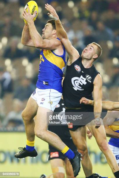 Jeremy McGovern of the Eagles marks the ball against Harry McKay of the Blues during the round five AFL match between the Carlton Blues and the West...