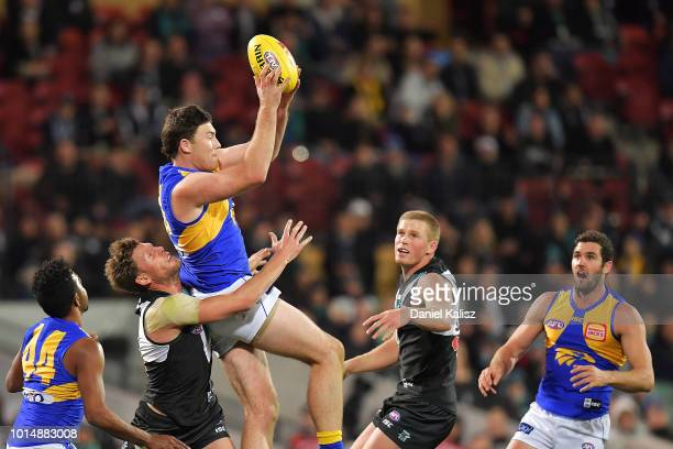 Jeremy McGovern of the Eagles marks the ball before the siren during the round 21 AFL match between the Port Adelaide Power and the West Coast Eagles...