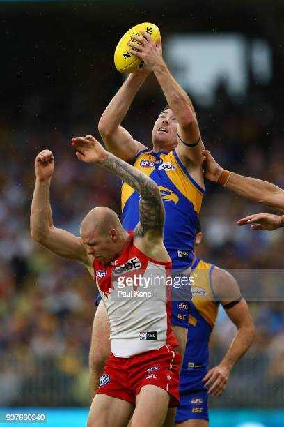 Jeremy McGovern of the Eagles marks the ball during the round one AFL match between the West Coast Eagles and the Sydney Swans at Optus Stadium on...