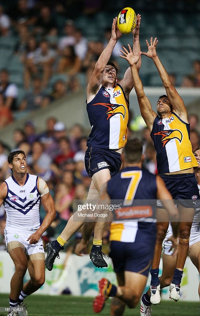 Jeremy McGovern of the West Coast marks during the round one NAB Cup match between the West Coast Eagles and the Fremantle Dockers at Patersons Stadium on February 16, 2013 in Perth, Australia.