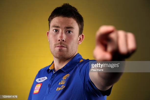 Jeremy McGovern poses during a West Coast Eagles AFL media opportunity at Subiaco Oval on September 17 2018 in Perth Australia