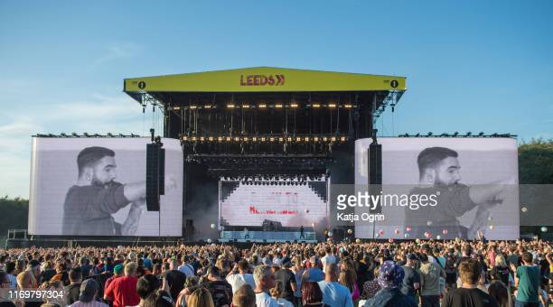 Jeremy McKinnon Neil Westfall Joshua Woodard Alex Shelnutt and Kevin Skaff of A Day To Remember perform on stage during Leeds Festival 2019 at...
