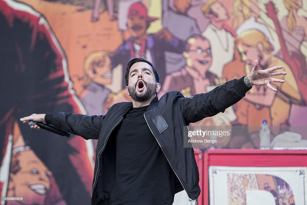 Jeremy McKinnon of A Day To Remember performs on stage at Leeds Festival at Bramham Park on August 22, 2014 in Leeds, United Kingdom.