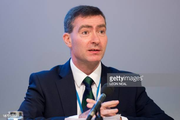 Jeremy Mean of the Medicines and Healthcare Products Regulatory Agency takes part in a panel session during'The ECigarette Summit' at the Royal...