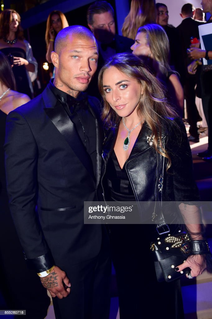Jeremy Meeks and Chloe Green attend the cocktail for the inaugural 'Monte-Carlo Gala for the Global Ocean' honoring Leonardo DiCaprio at the Monaco Garnier Opera on September 28, 2017 in Monaco, Monaco.