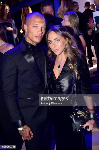 Jeremy Meeks and Chloe Green attend the cocktail for the inaugural 'MonteCarlo Gala for the Global Ocean' honoring Leonardo DiCaprio at the Monaco...