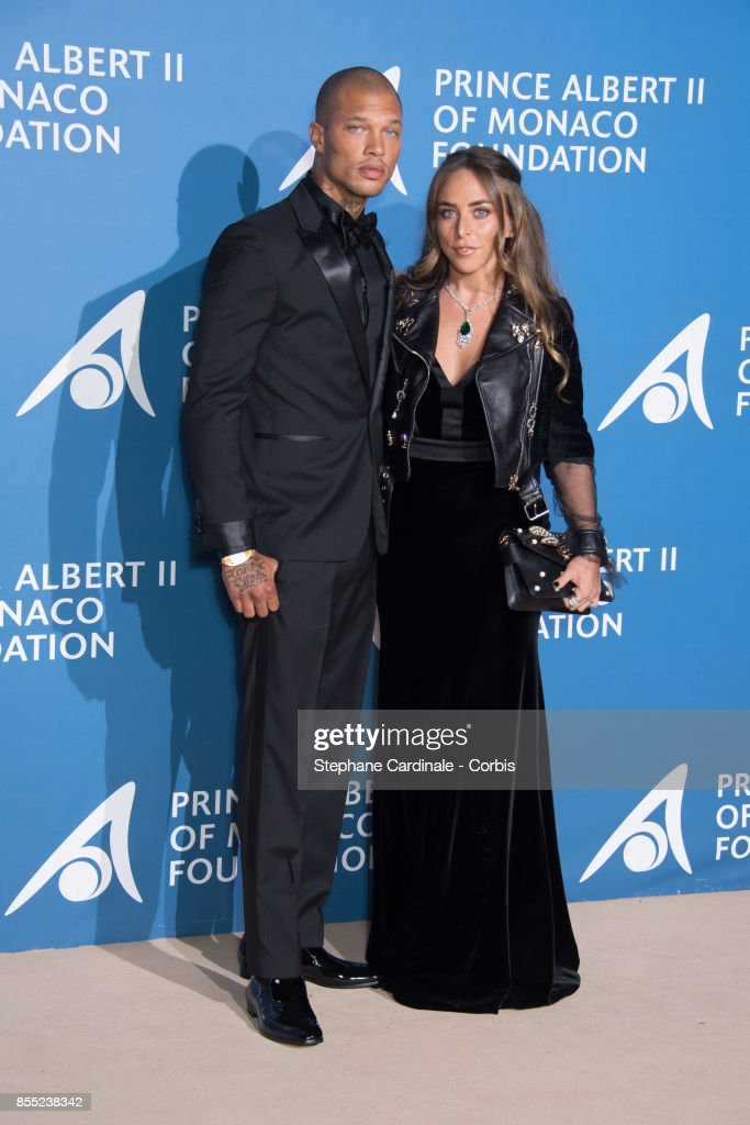 Jeremy Meeks and Chloe Green attend the Inaugural 'Monte-Carlo Gala For The Global Ocean' Honoring Leonardo DiCaprio at The Monaco Garnier Opera on September 28, 2017 in Monaco, Monaco.