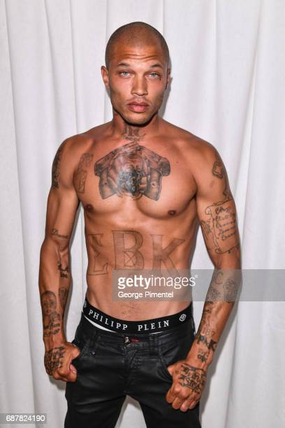Jeremy Meeks attends the/walks the runway at the Philipp Plein Cruise Show 2018 during the 70th annual Cannes Film Festival at on May 24, 2017 in...