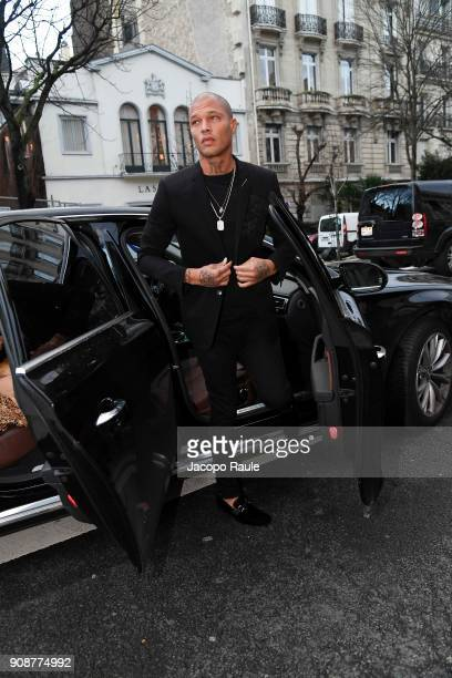 Jeremy Meeks is seen arriving at Ralph Russo show during Paris Fashion Week Menswear Fall Winter 2018/2019 on January 22 2018 in Paris France
